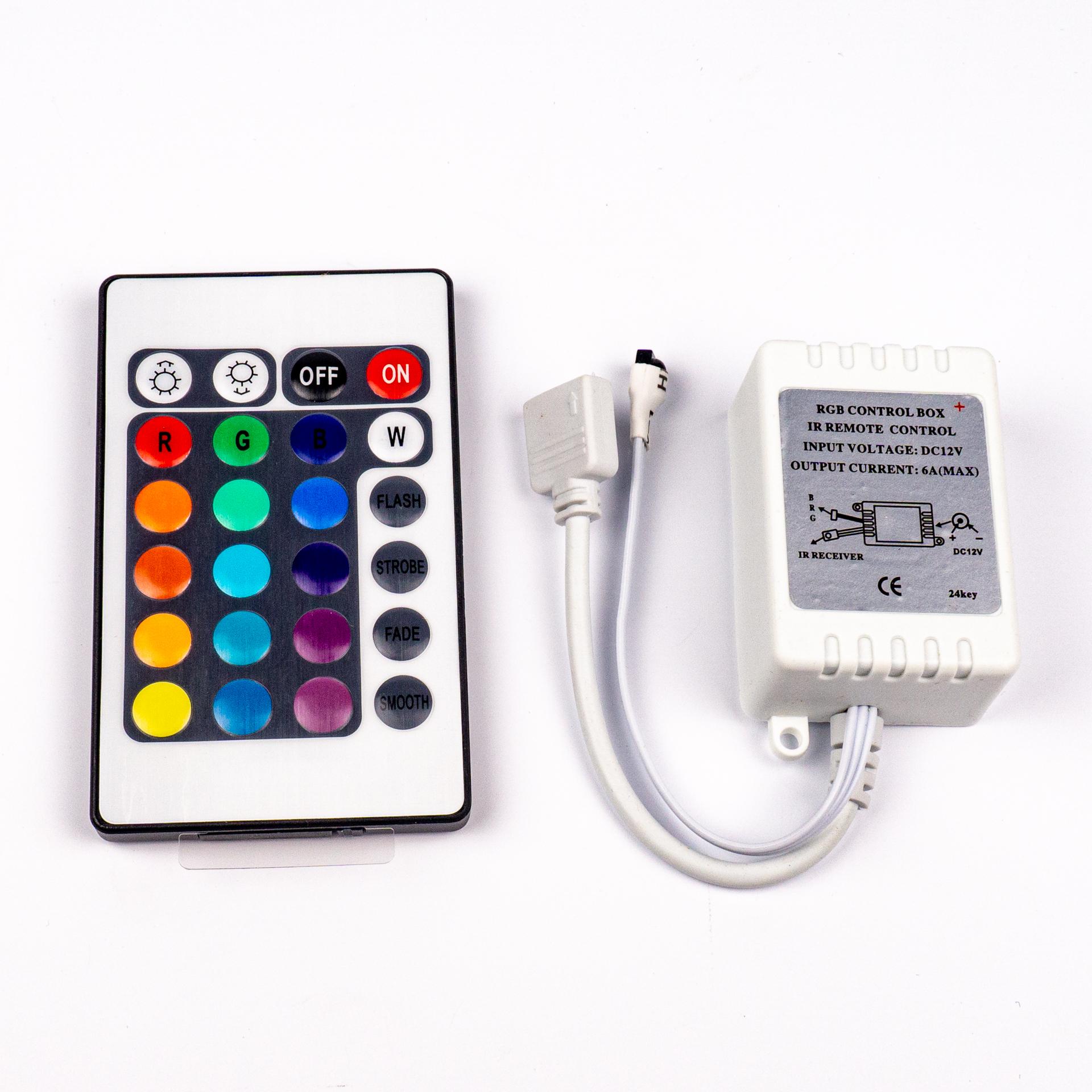 LED Szalag Vezérlő 24 Gombos RGB 3 Csatornás IR 12V 6A 72W LC-24RGBIR
