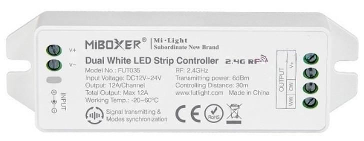 MiLight MiBoxer RF Zóna Vezérlő CCT LED Szalaghoz 2 Csatornás 12V-24V 12A 144W/288W FUT035 LC-MLCCTRF