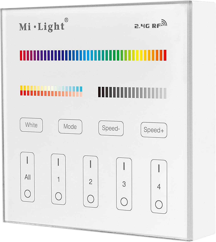 MiLight MiBoxer RF Fali Elemes Távirányító 4 Zónás RGB CCT 5 Csatornás Zóna Vezérlőhöz B4 LC-MLRGBCCTRFW