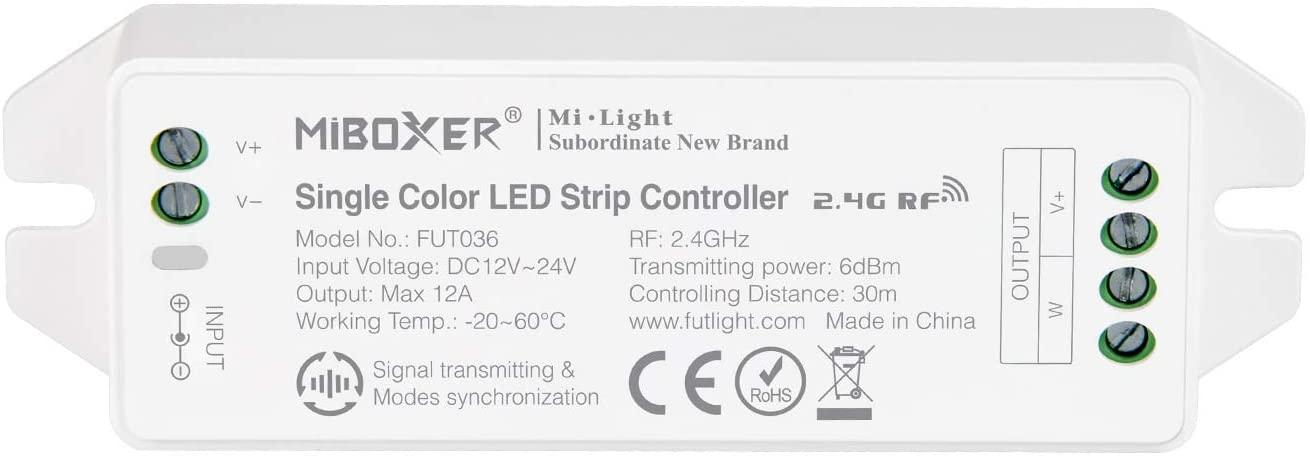 MiLight MiBoxer RF Zóna Vezérlő Fehér LED Szalaghoz 1 Csatornás 12V-24V 12A 144W/288W FUT036 LC-MLWRF