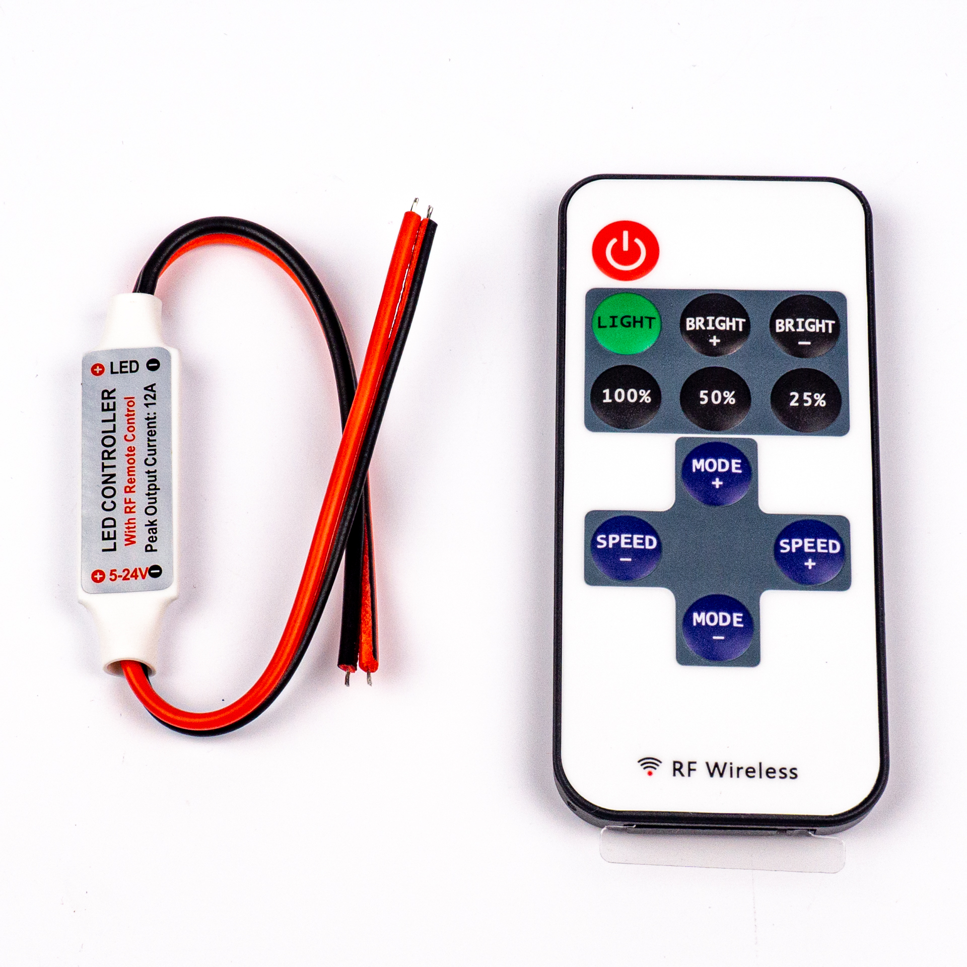 LED Szalag Vezérlő Mini 11 Gombos Fehér 1 Csatornás RF 5V-24V 12A 144W/288W LC-MWRF