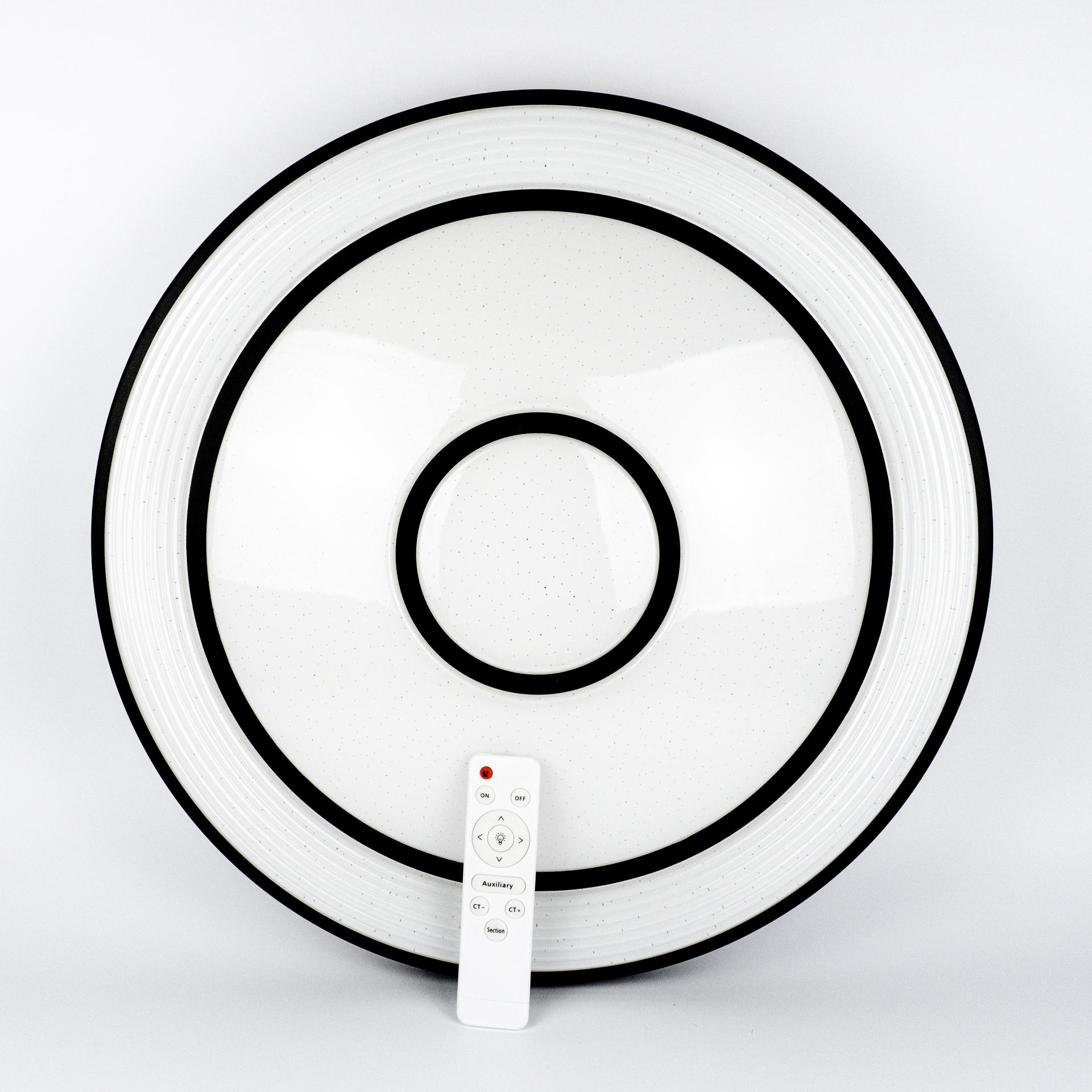 Távirányítós Mennyezeti Lámpa 48W CCT 49x49cm Fekete Kör LL-CCT49FK