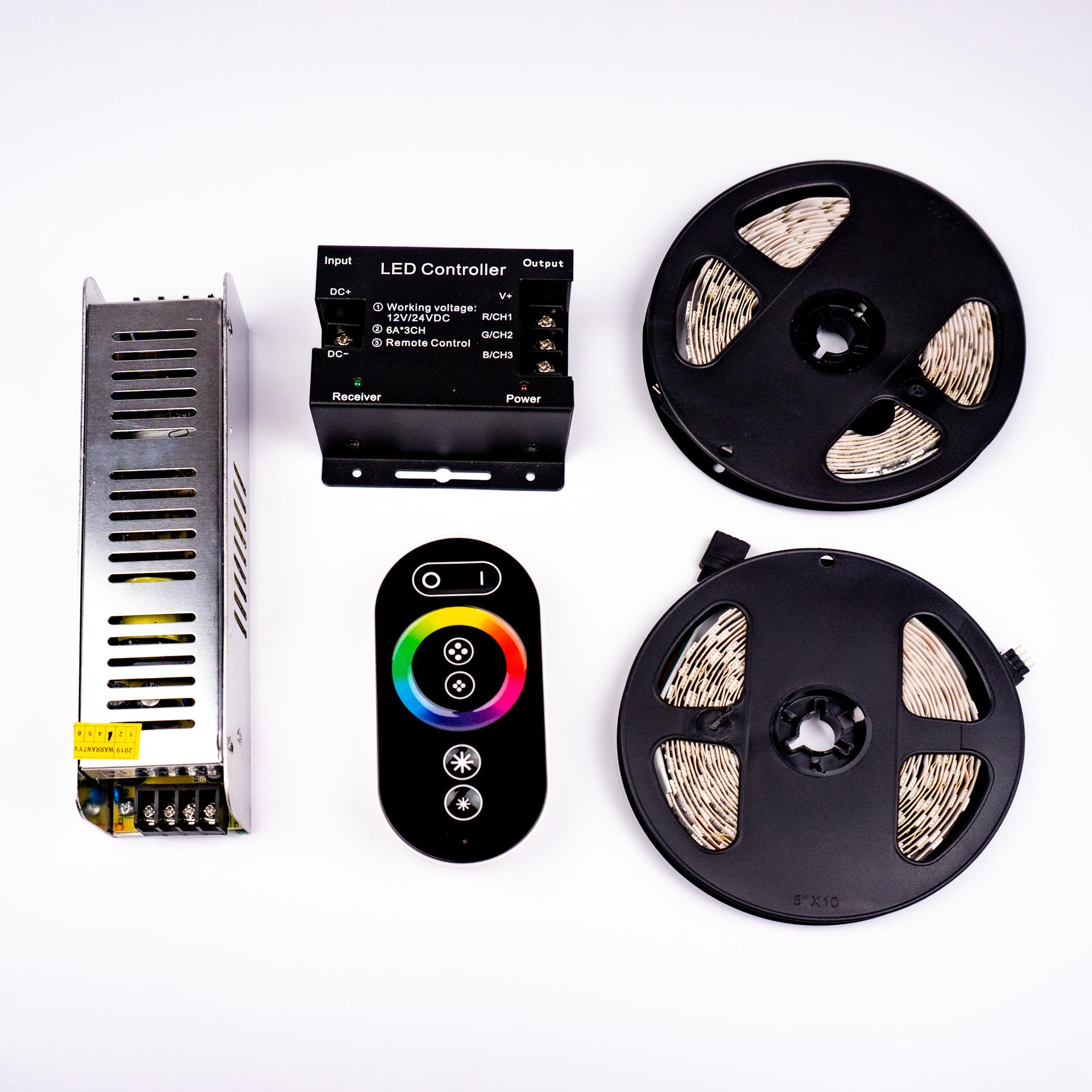 LED Szalag Szett 10 Méter Beltéri RGB Színes 5050 60 LED/M RF LSS-10RGBRF