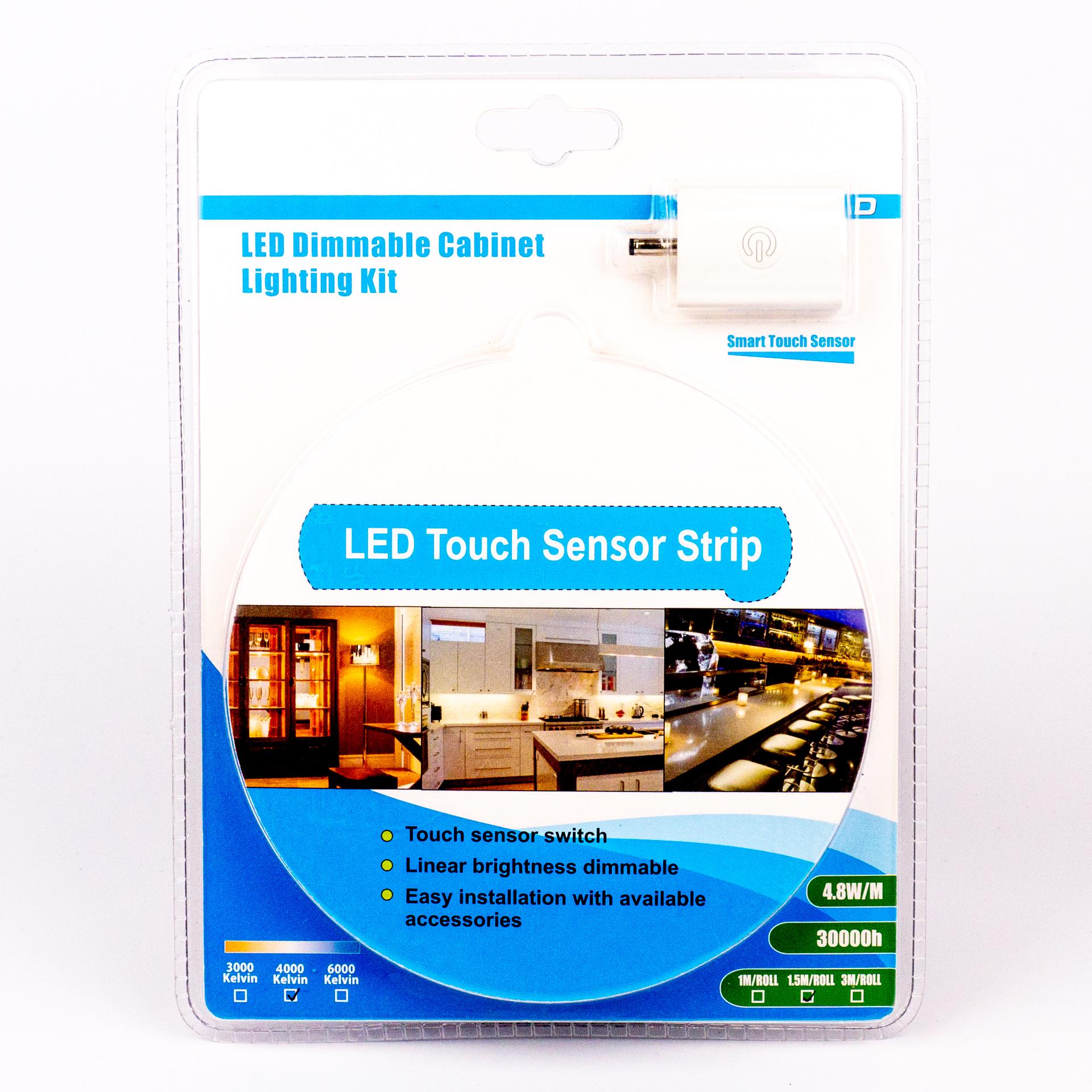 Komplett LED Szalag Szett Kültéri Természetes Fehér Érintős Vezérlővel 1,5 Méter Konyhapulthoz LSS-1T5