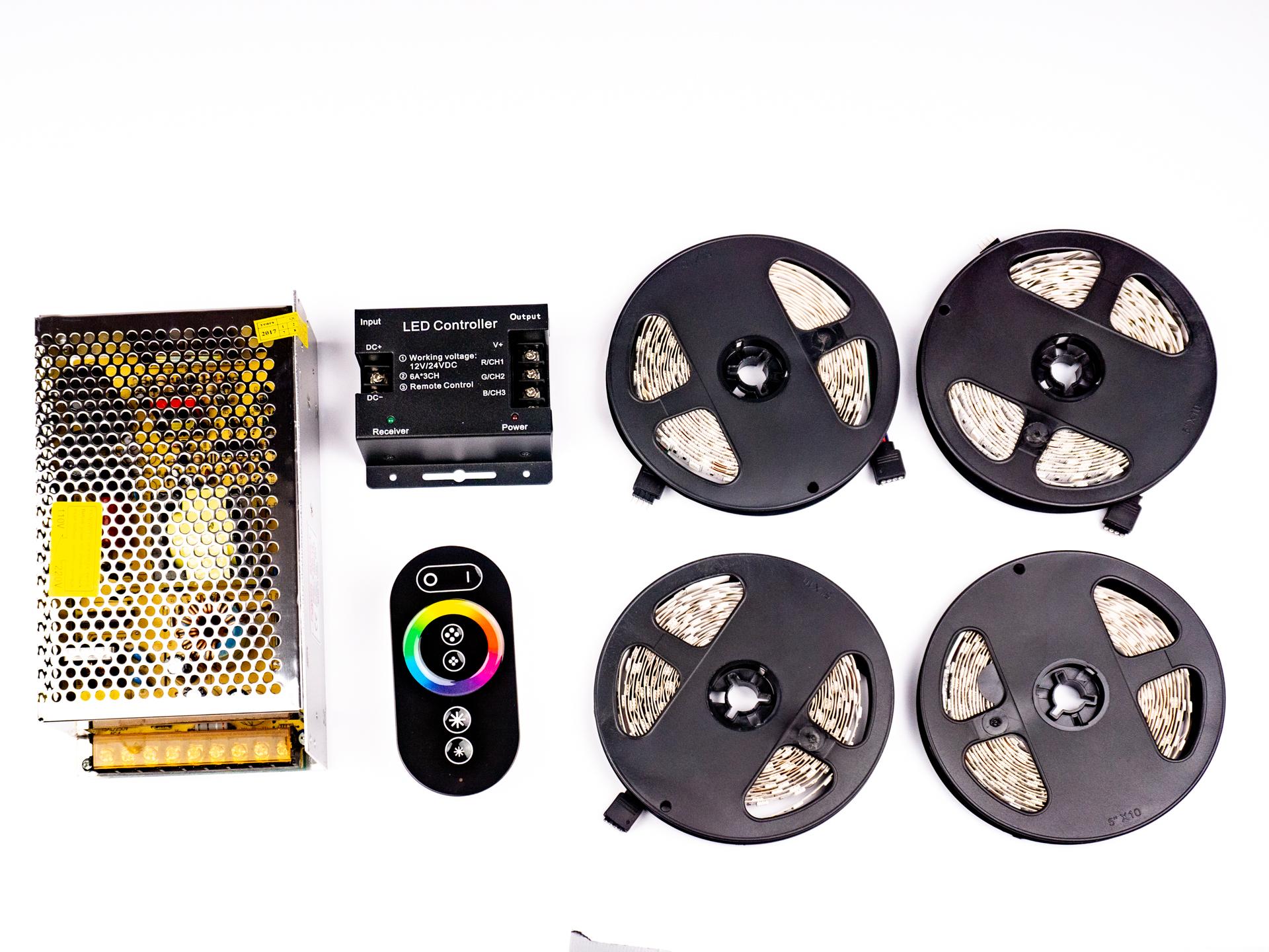 LED Szalag Szett 20 Méter Beltéri RGB Színes 5050 60 LED/M RF LSS-20RGBRF