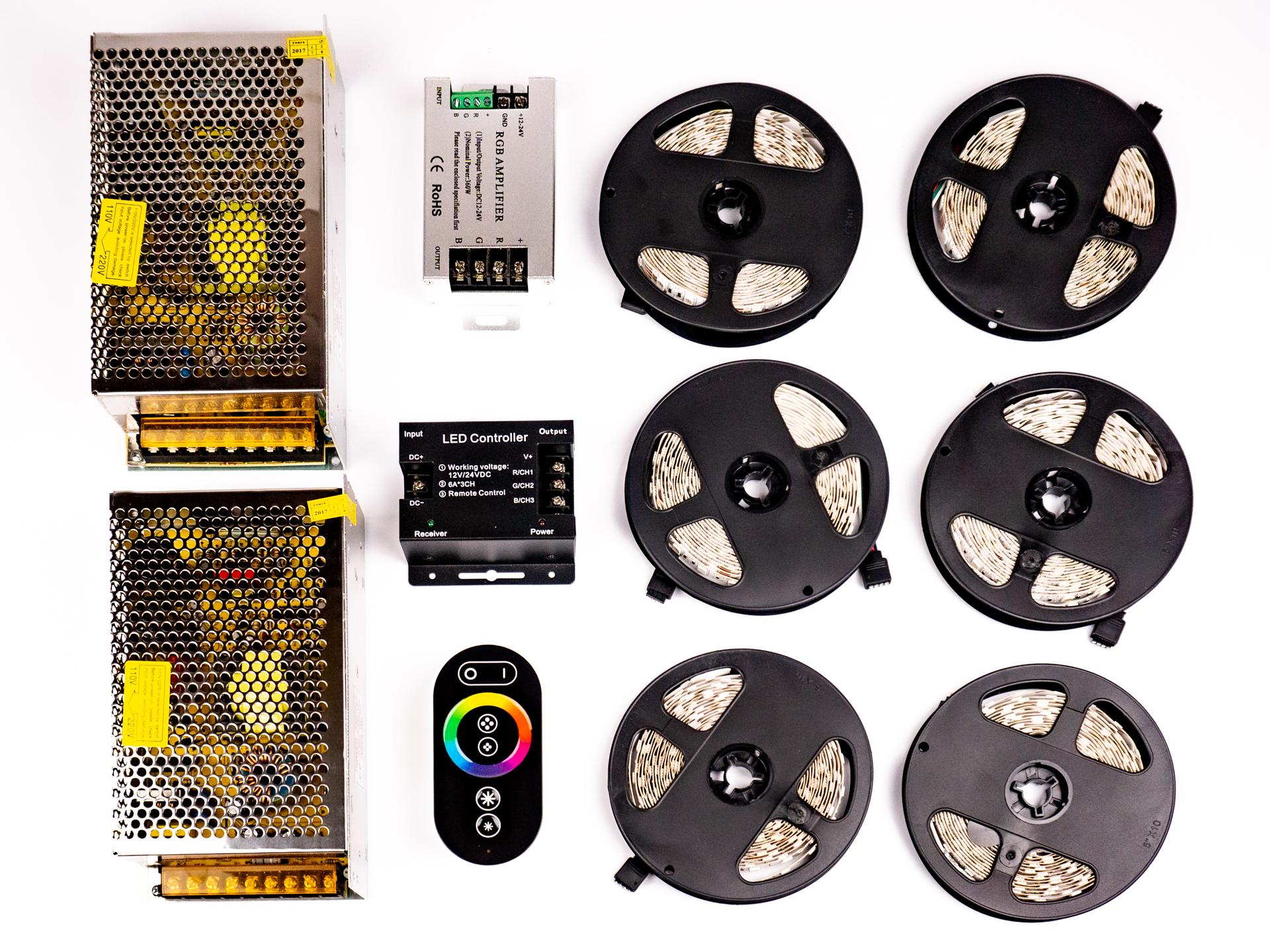 LED Szalag Szett 30 Méter Beltéri RGB Színes 5050 60 LED/M RF LSS-30RGBRF