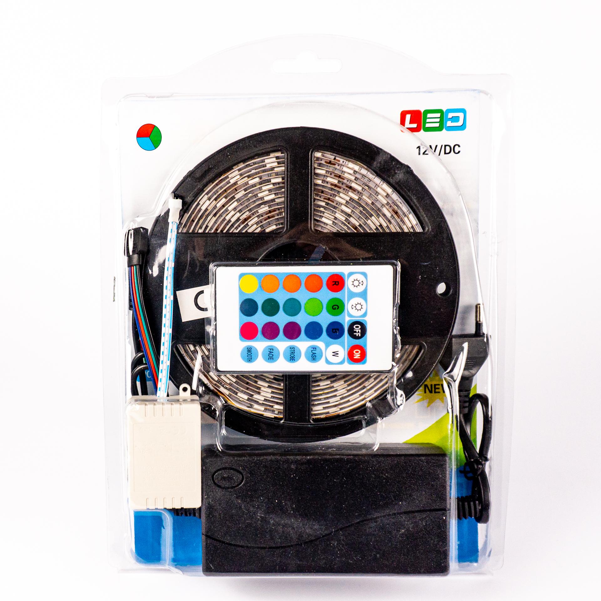 Komplett LED Szalag Szett Kültéri RGB Színes 5050 60 LED/M IR 5 Méter LSS-5RGBIR