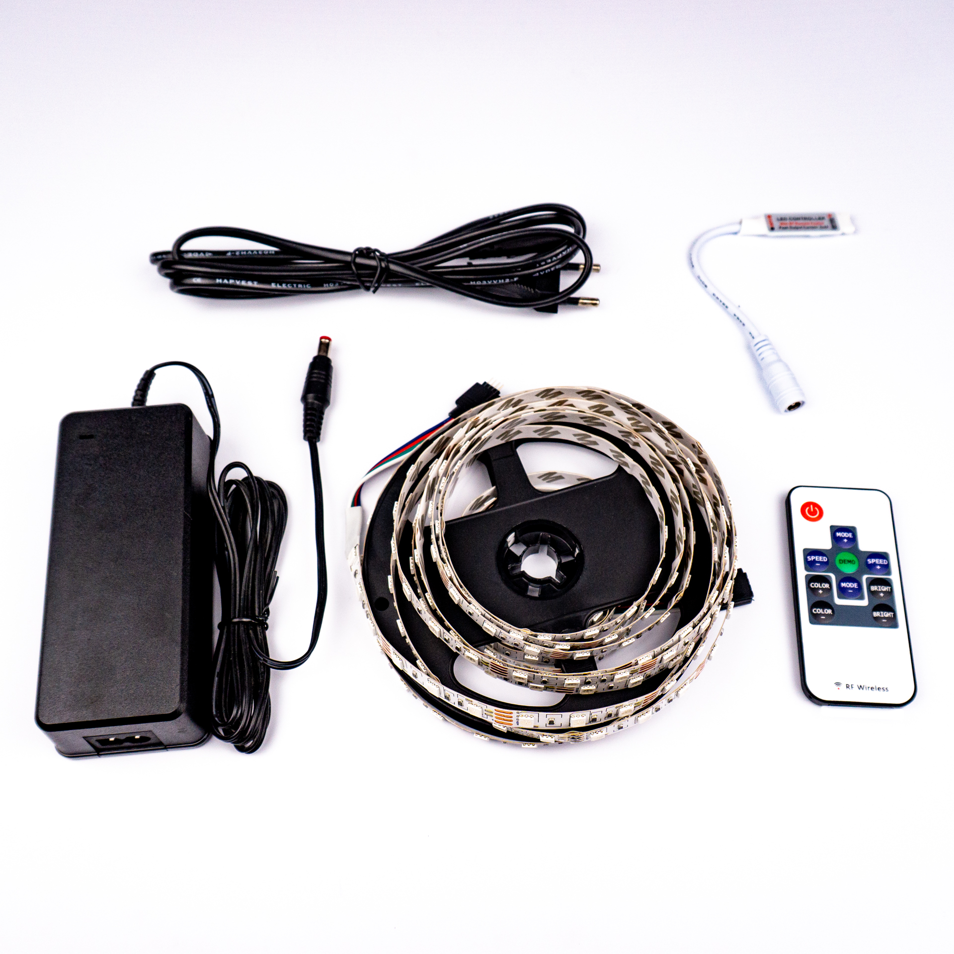 Komplett LED Szalag Szett Beltéri RGB Színes 5050 60 LED/M RF 5 Méter LSS-5RGBRF