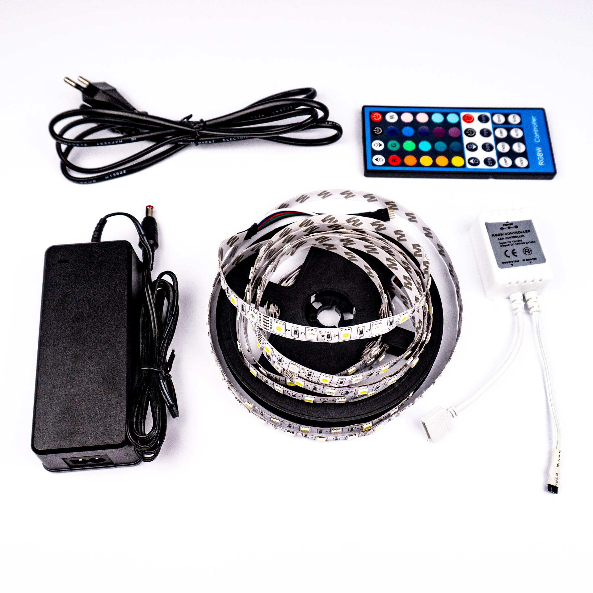 Komplett LED Szalag Szett Beltéri RGBW Színes és Hideg Fehér 5050 60 LED/M RF 5 Méter LSS-5RGBWRF